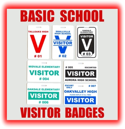 basic school visitor badges and school visitor pass examples
