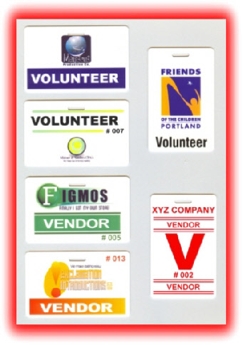 examples of volunteer badges and vendor badges